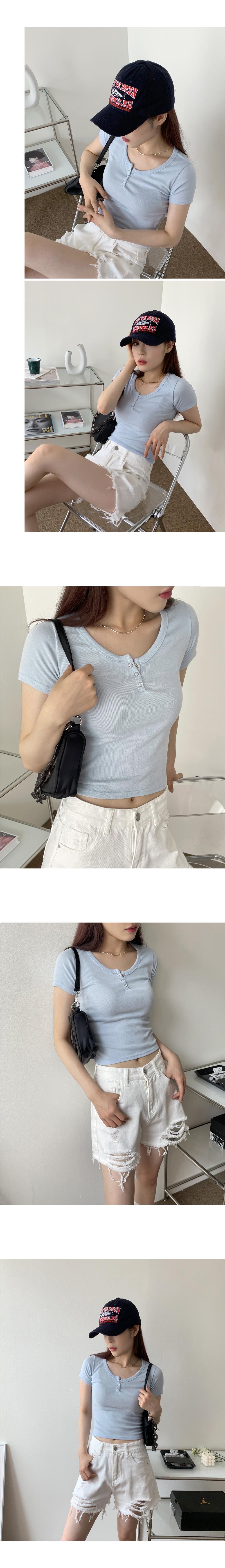Tototo U-neck cropped plain T-shirt