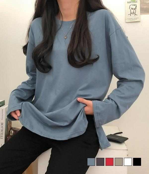 Daily slit long-sleeved T-shirt with good length