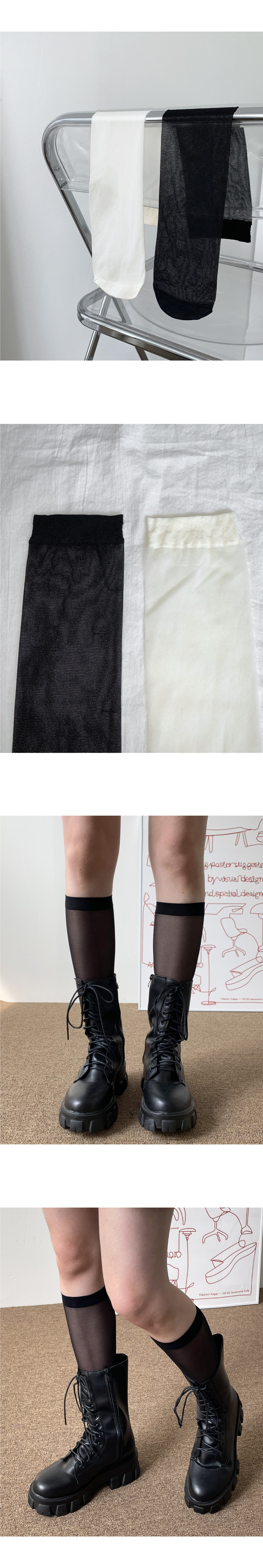 Cheline sheer knee-sock socks