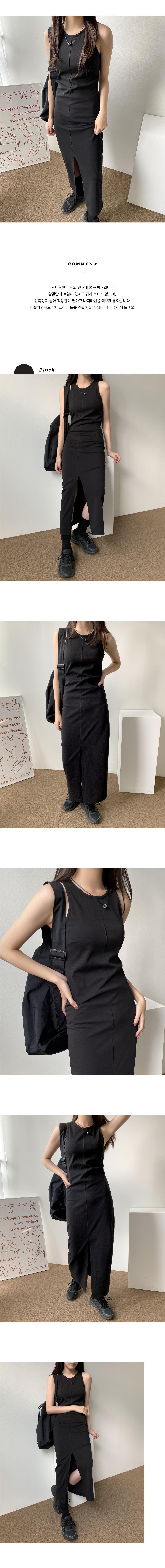 moody slit sleeveless long Dress
