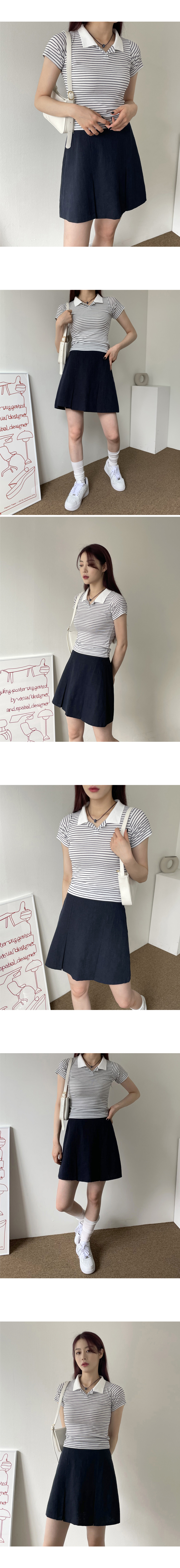 Binz striped Striped cropped collar T-shirt