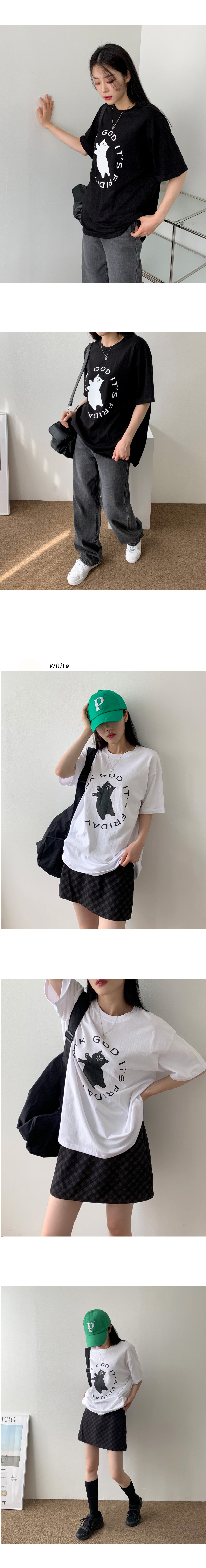 Rube Cat Print Overfit Box Short Sleeve T-shirt