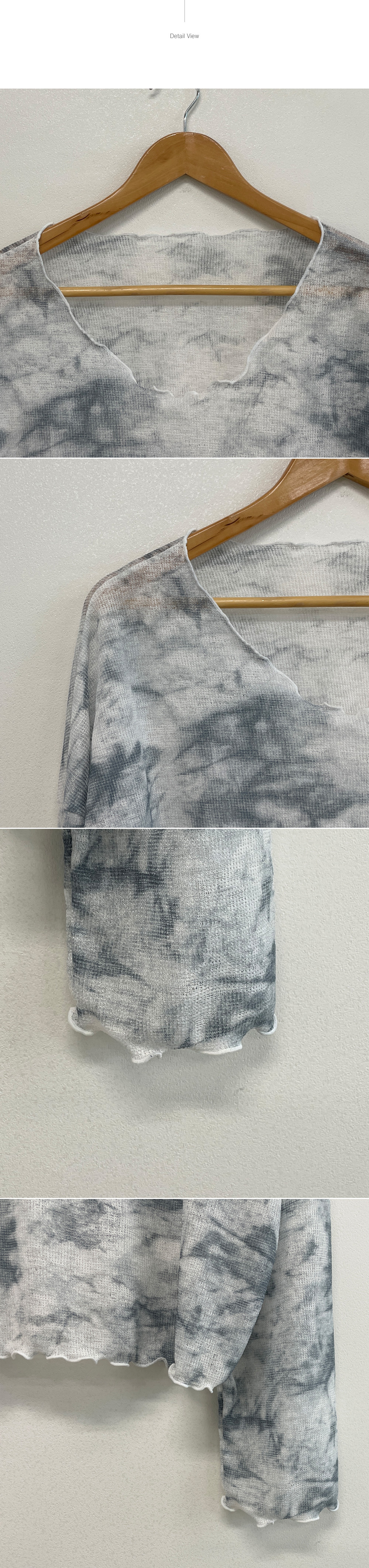 Neo, tie-dye printing see-through soft fit wave neck T-shirt
