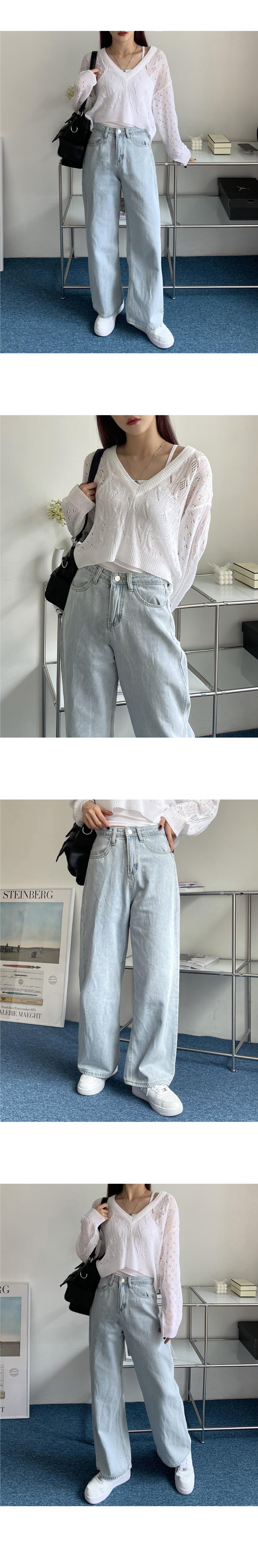 淺藍系牛仔寬褲