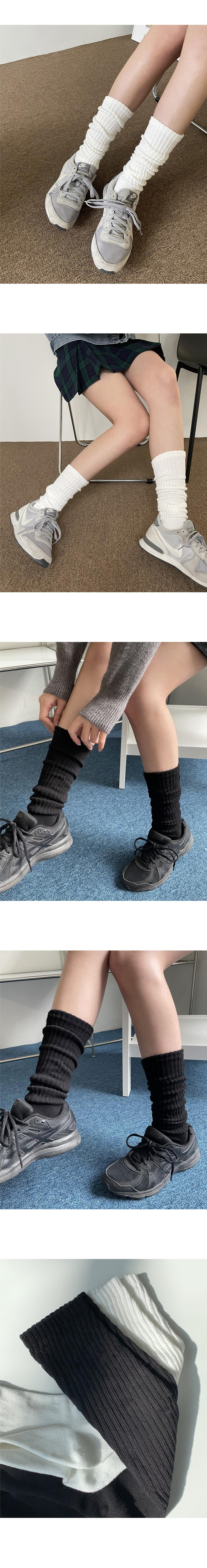 Creamy Knitwear Pleated Warmer Socks Socks