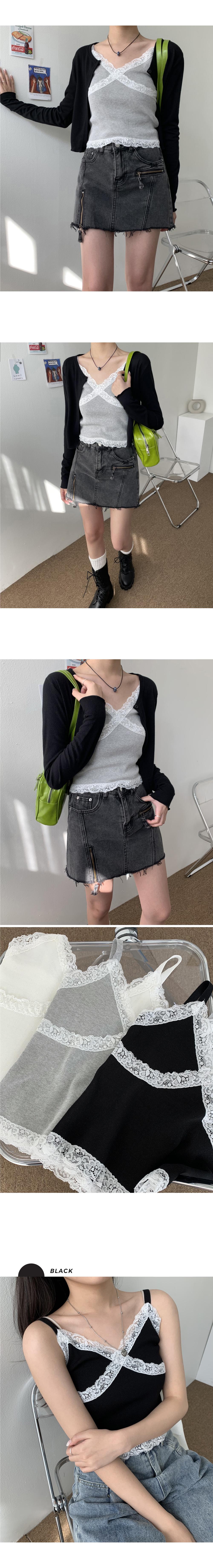 Loving Lace Crop Knitwear Bustier Sleeveless