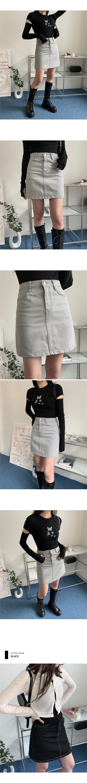 Renew Gray Black Black Denim Denim Mini Skirt
