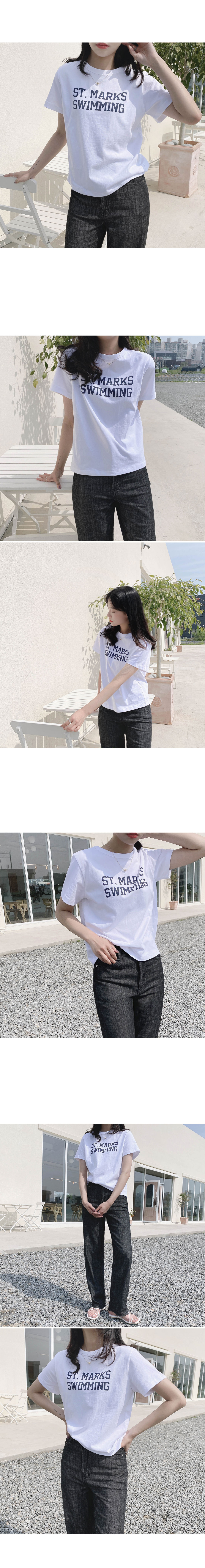 Swimming Lettering Cotton T-shirt - Ivory, Light Gray Same Day Shipping