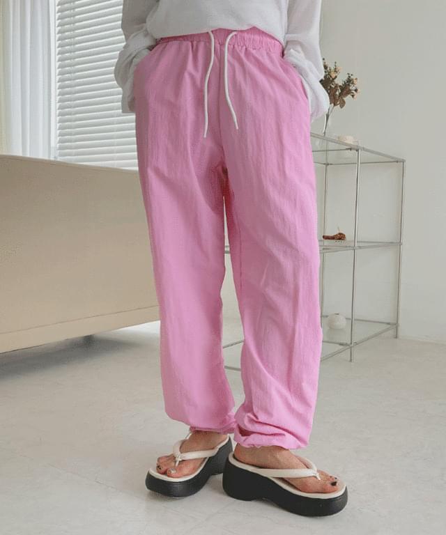 Aqua Nylon Two-Way Banding Pants