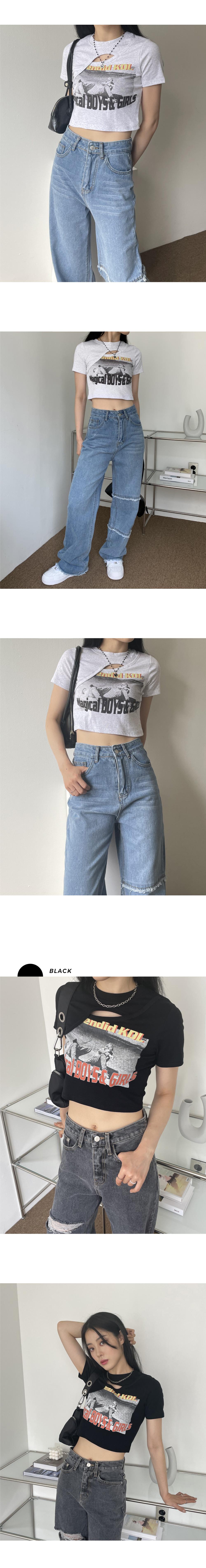 モディファイ印刷ひらきクロップ半袖ポロシャツ