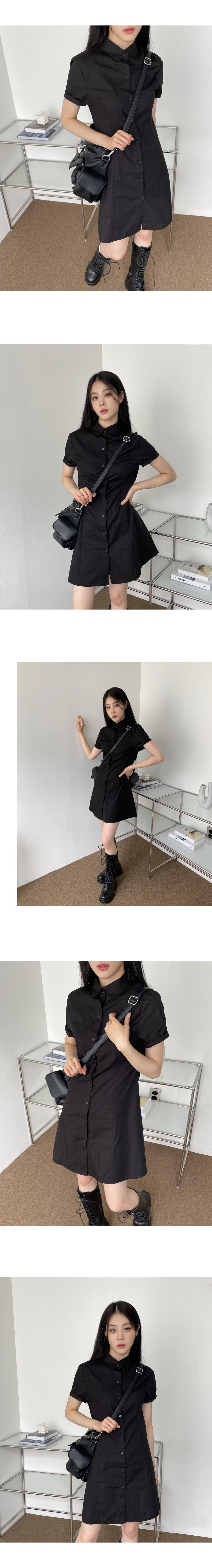 Focusing Collar Shirt Mini Dress