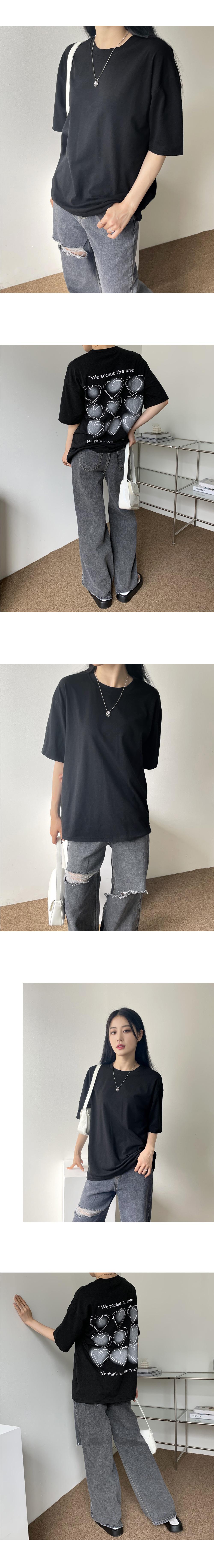 Aqua kitsch heart bag print short sleeve T-shirt
