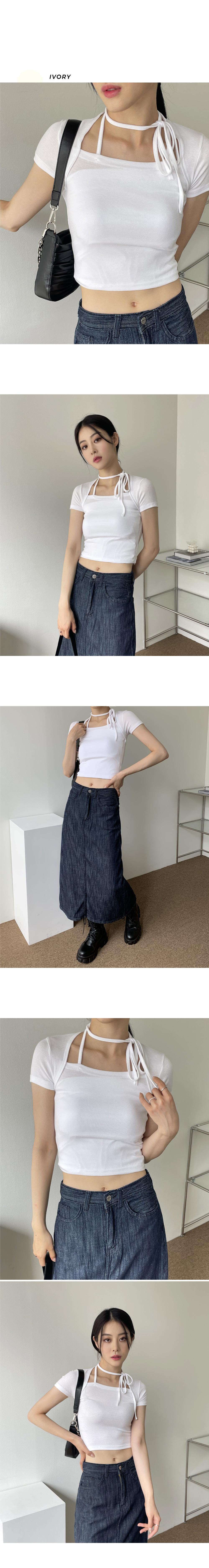 Irene Choker Halter Bolero Crop Short Sleeve T-shirt