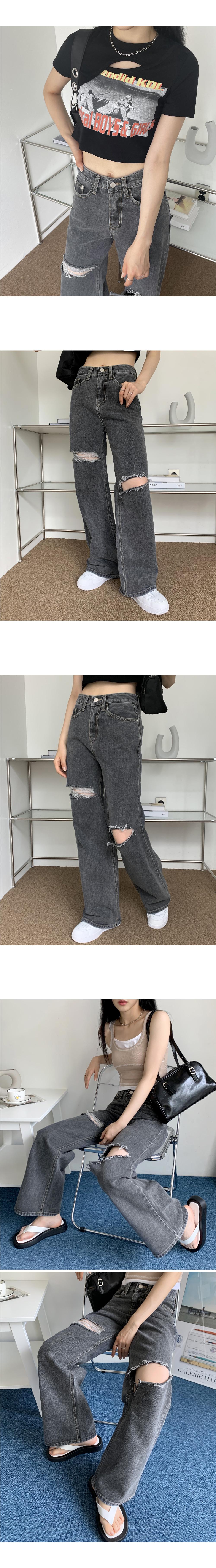 Name Black Denim Wide Ripped Blue Long Denim Pants