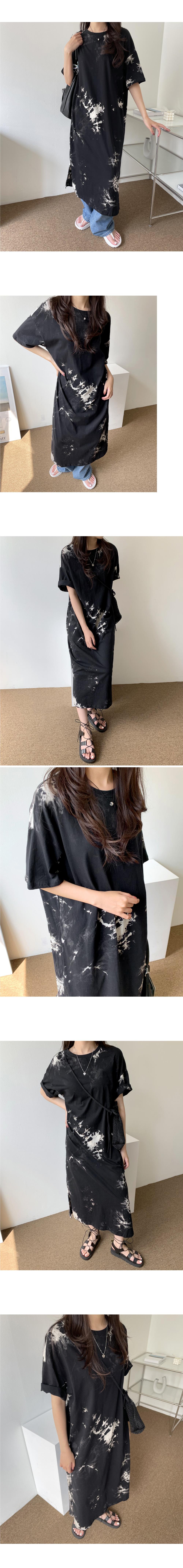 Thunder tie-dye split loose Loose-fit long short sleeve Dress