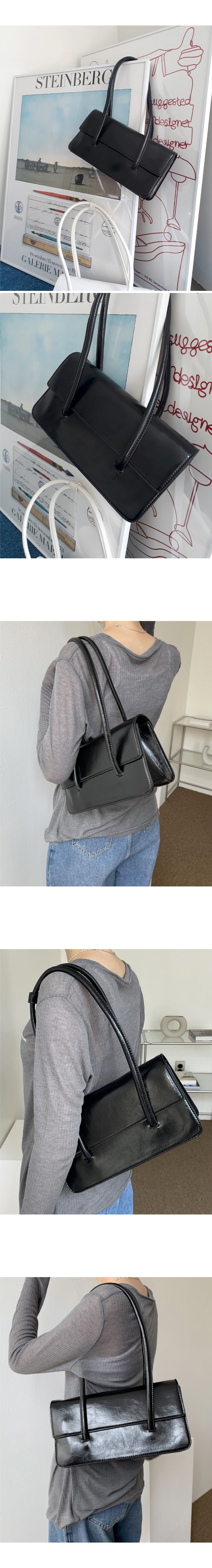 With Shiny Square Leather Shoulder Bag