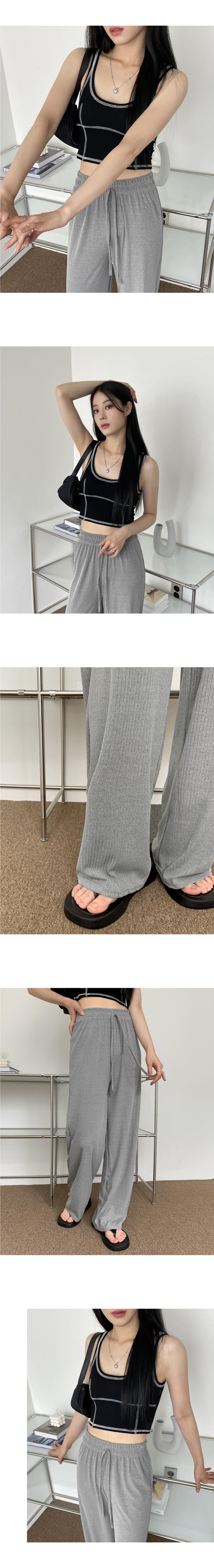 Ed Ribbed Banding Long Wide Pants