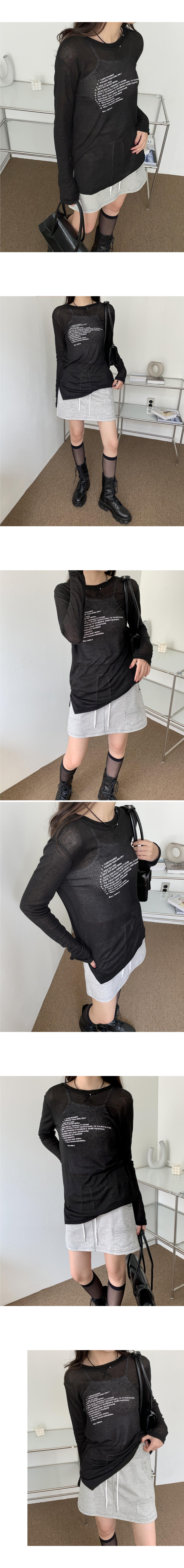 In the lettering slit see-through long-sleeved T-shirt
