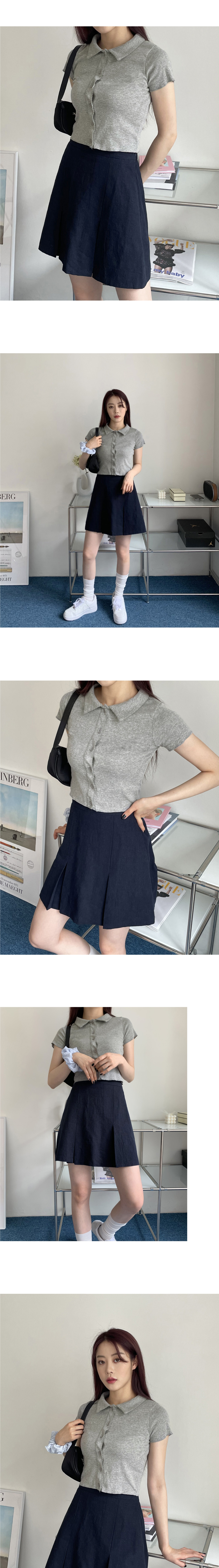 Mime wave collar button cropped cardigan
