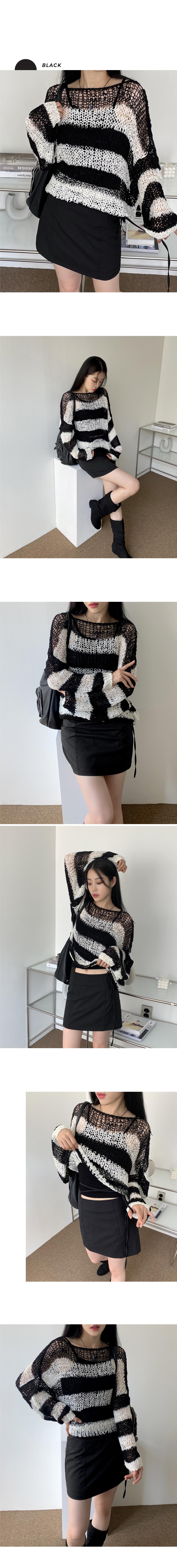 Wookiee Stripe Overfit Net Knitwear
