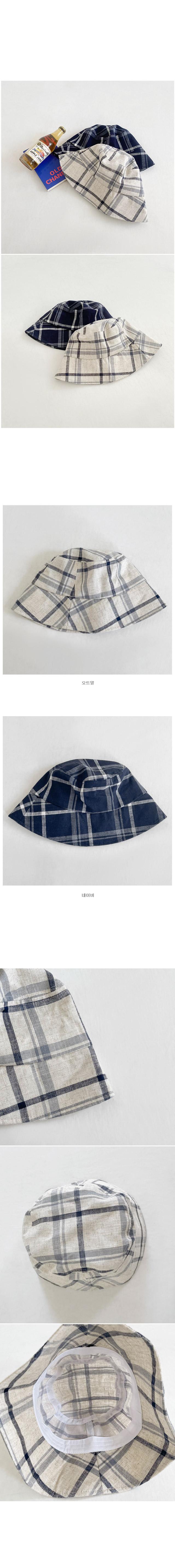 Teeth Check Linen Bucket Hat - Oatmeal