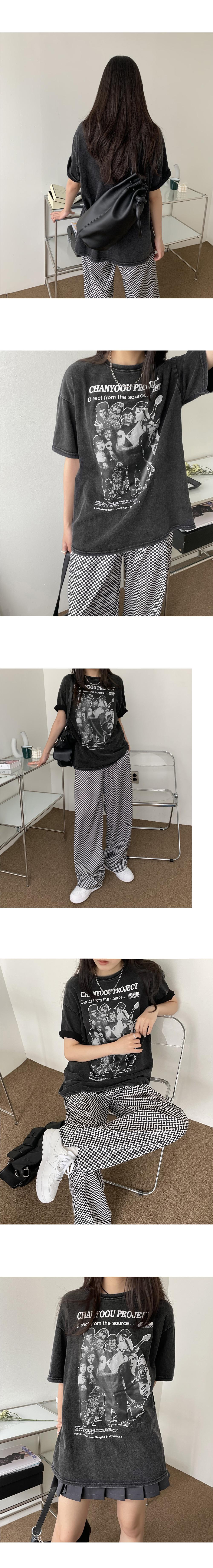 Chanyu Pigment Faded Print Short Sleeve T-shirt