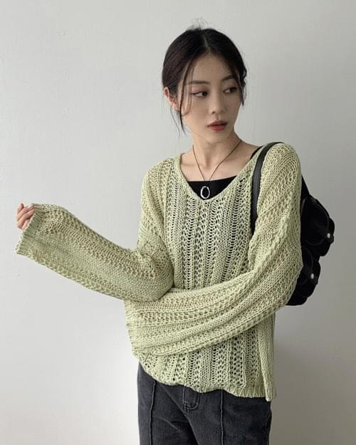Plain Net Loose-fit V-Neck Net Knitwear