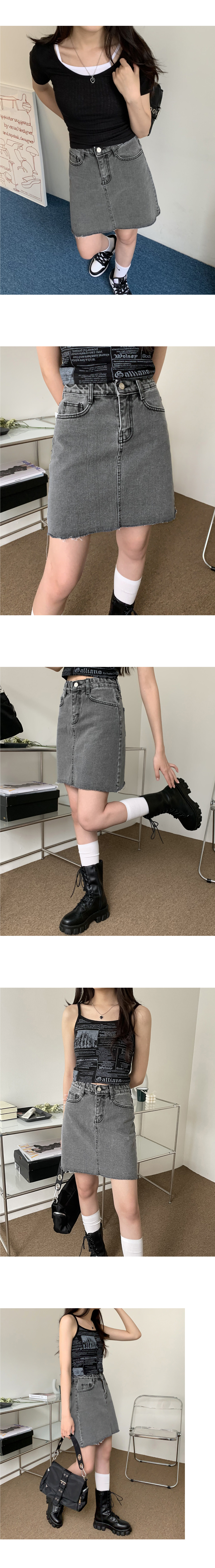 Isle Gray Cut Denim Skirt