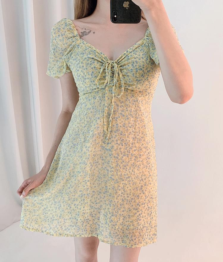 Self-Tie Detail Floral Mini Dress