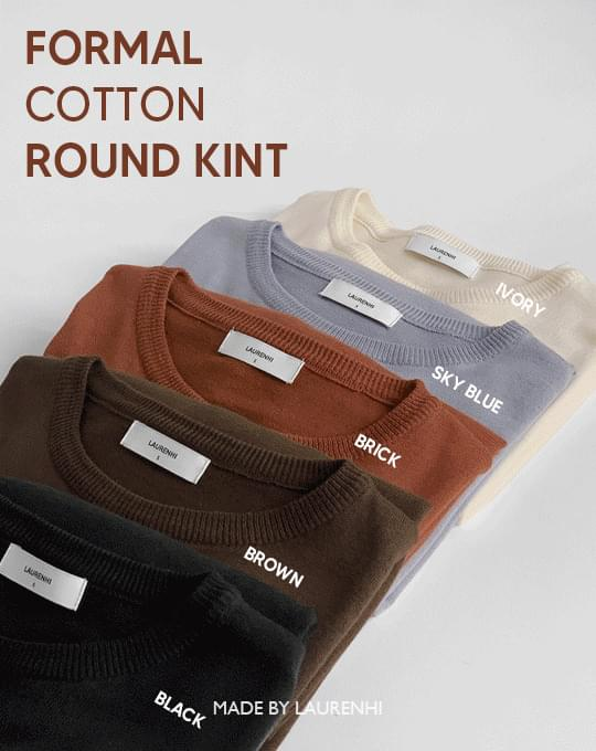 Formal Cotton Round Knitwear - 5 color
