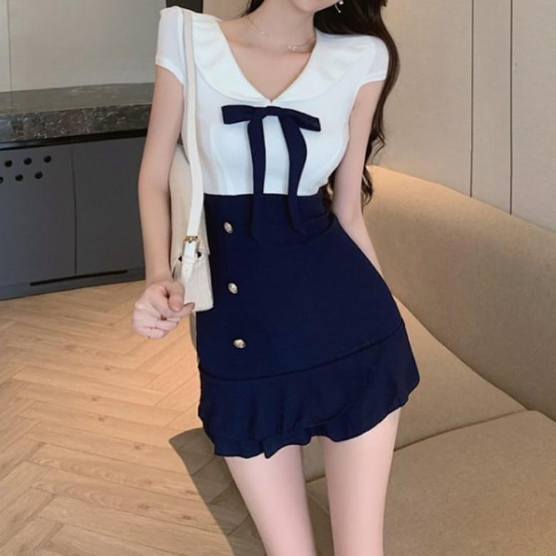 Ribbon color matching half mini Dress