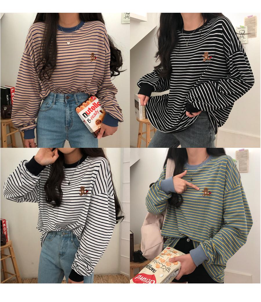 Cherry Bear embroidered shirts Striped Sweatshirt