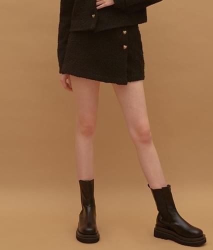 HEART CLUB Heart Button Tweed Black Mini Skirt