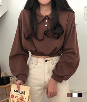 Chocolate color banding cropped Sweatshirt t-shirts