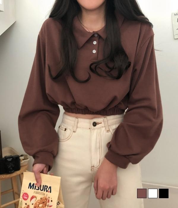 チョコカラーバンディングクロップスウェットシャツTシャツ