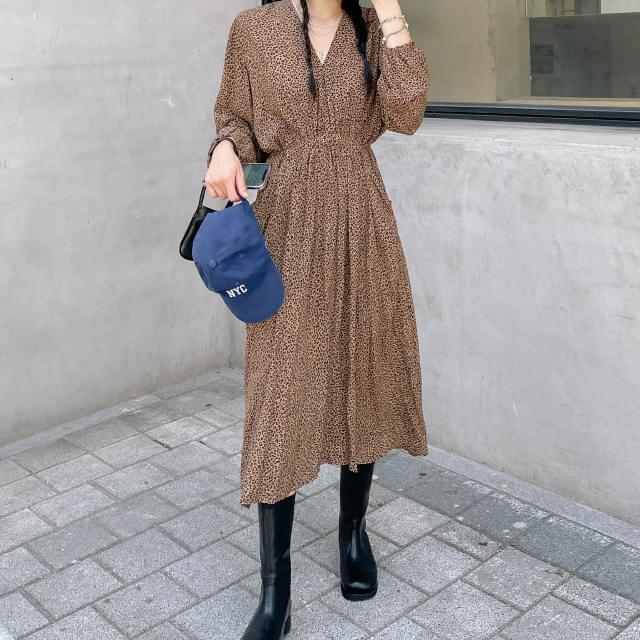 Devon leopard shirring long Dress 長洋裝