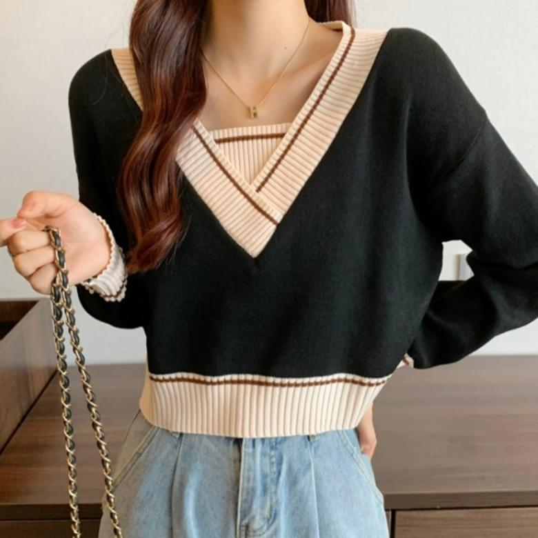 Basic V Neck Loose Top Knitwear Color Matching Tee