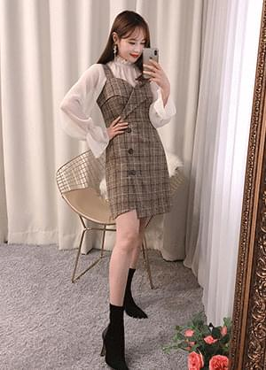 All-stay check bustier Dress