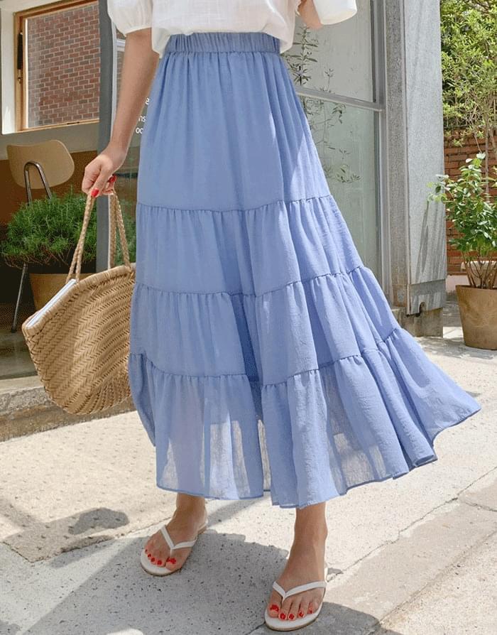 Elish Cancan Flare Banding Long Skirt