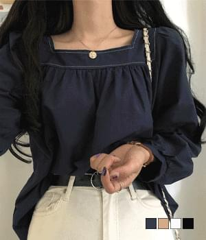 stitched square neck blouse