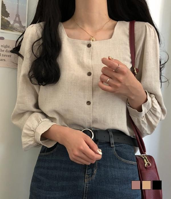 Wood Mar Square Neck Long Sleeve Blouse (Delayed delivery)
