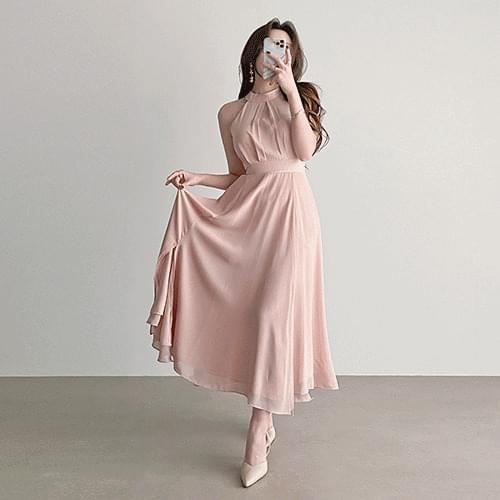 Slim Fit Double Chiffon Halter Neck Goddess Dress 2color