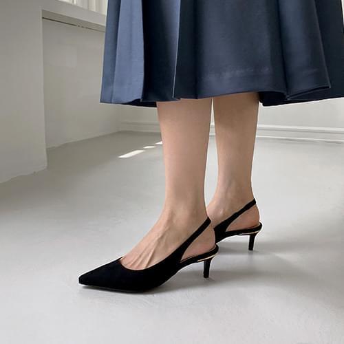 Wellrose suede metal heel slingback heel