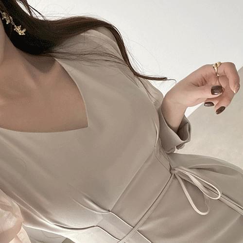 Straight V-Neck see-through sleeve pintuck midi Dress 3color