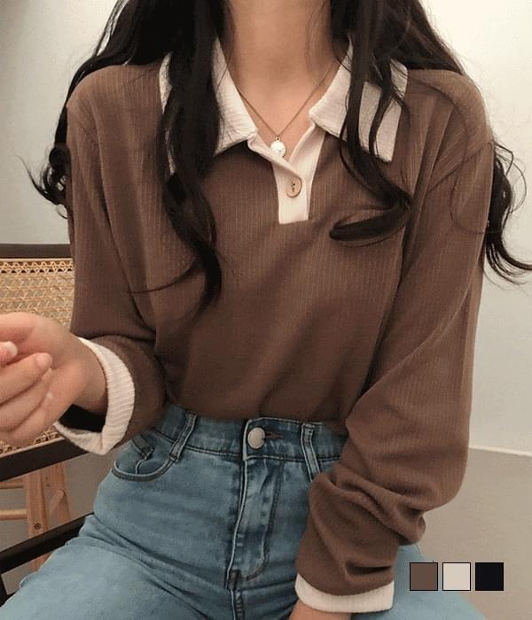 코트니 배색 카라 긴팔 티셔츠