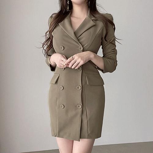Straight Right Shoulder Slim Fit Spandex Collar Jacket Dress 4color