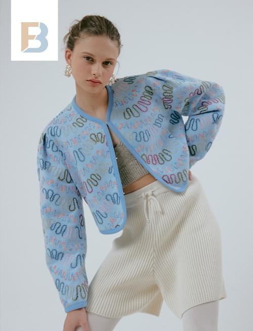 Mama Needlework Crop Jacket_Soft Blue