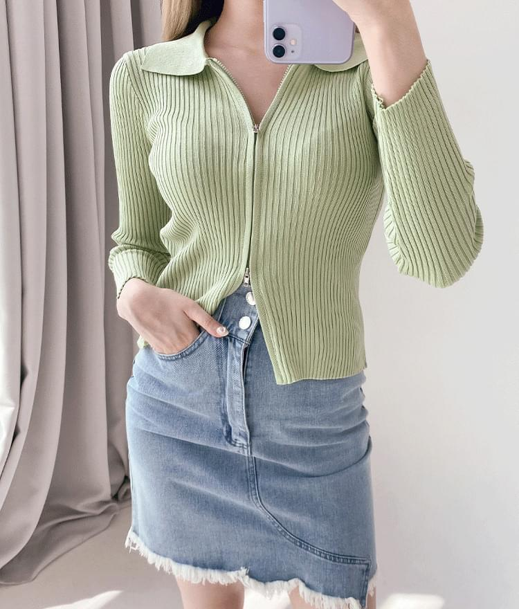 Two-Way Zip Ribbed Knit Top