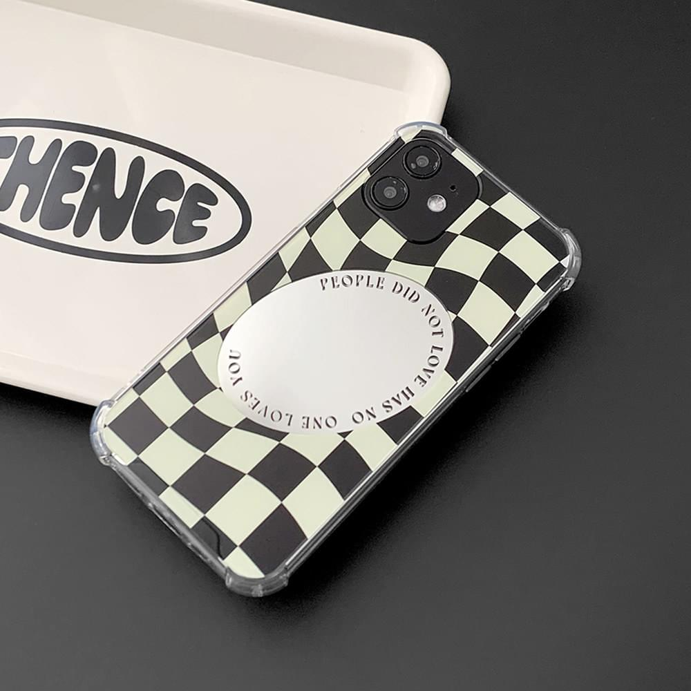 People Mirror Wave Checkerboard Transparent Jelly iPhone Case