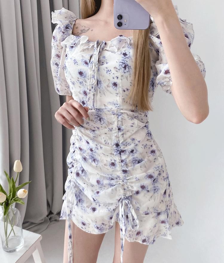 Two-Way Neck Floral Mini Dress